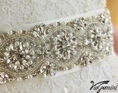 "Bridal sash 24"" , rhinestones and crystals sash, wedding sash, jeweled sash belt, crystal sash, wedding gown embellishment"