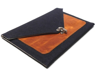 iPad / iPad Air case with leather pocket - dark denim