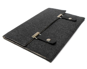 iPad Pro case - black and gray herringbone tweed