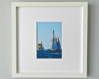 Framed Art, Ocean Photograph, Nautical Photo, Sailing Photography, Sailboat Art, Blue Sky, Deep Blue Sea, West Elm Frame, Framed Photography