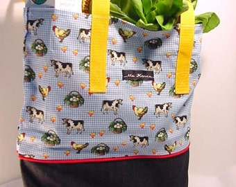 Country Barn Yard Market / Shopping / Grocery Tote OOAK