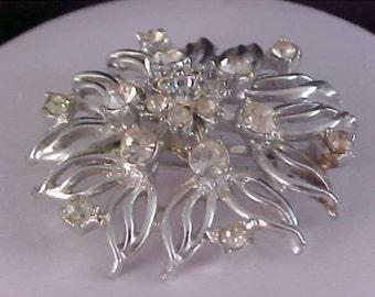 REDUCED~Fabulous ART DECO Diamante & Silver Plate Brooch