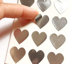 Set of 24 - 3/4 inch - SILVER FOIL - Small Heart Stickers - Gift Wrapping, Party Invitations, Embellishment, Envelope Seals, Wedding