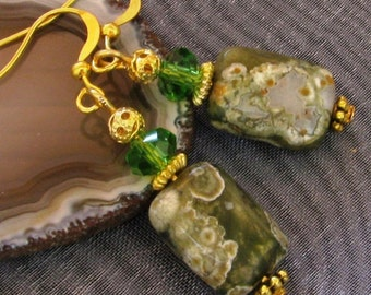 RHYOLITE Gemstone Green Faceted CRYSTAL Gold Plated Earrings Victorian Nouveau