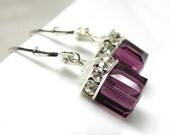 Purple Amethyst Earrings, Drop Swarovski Crystal Cube Sterling Silver, Bridesmaid Wedding Jewelry February Birthday Birthstone Ready To Ship