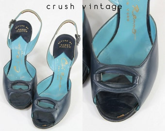 1940s Shoes Peep Toe 4.5  / 40s Vintage Shoes Ci Ranno Slingbacks / Ocular Window Pumps