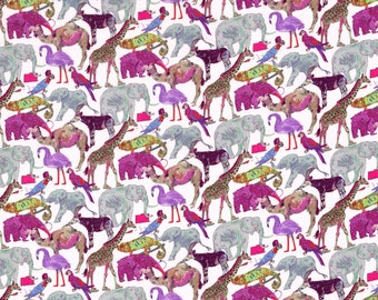 Liberty Fabric Queue for the Zoo A Animals Pink Tana Lawn Half Yard