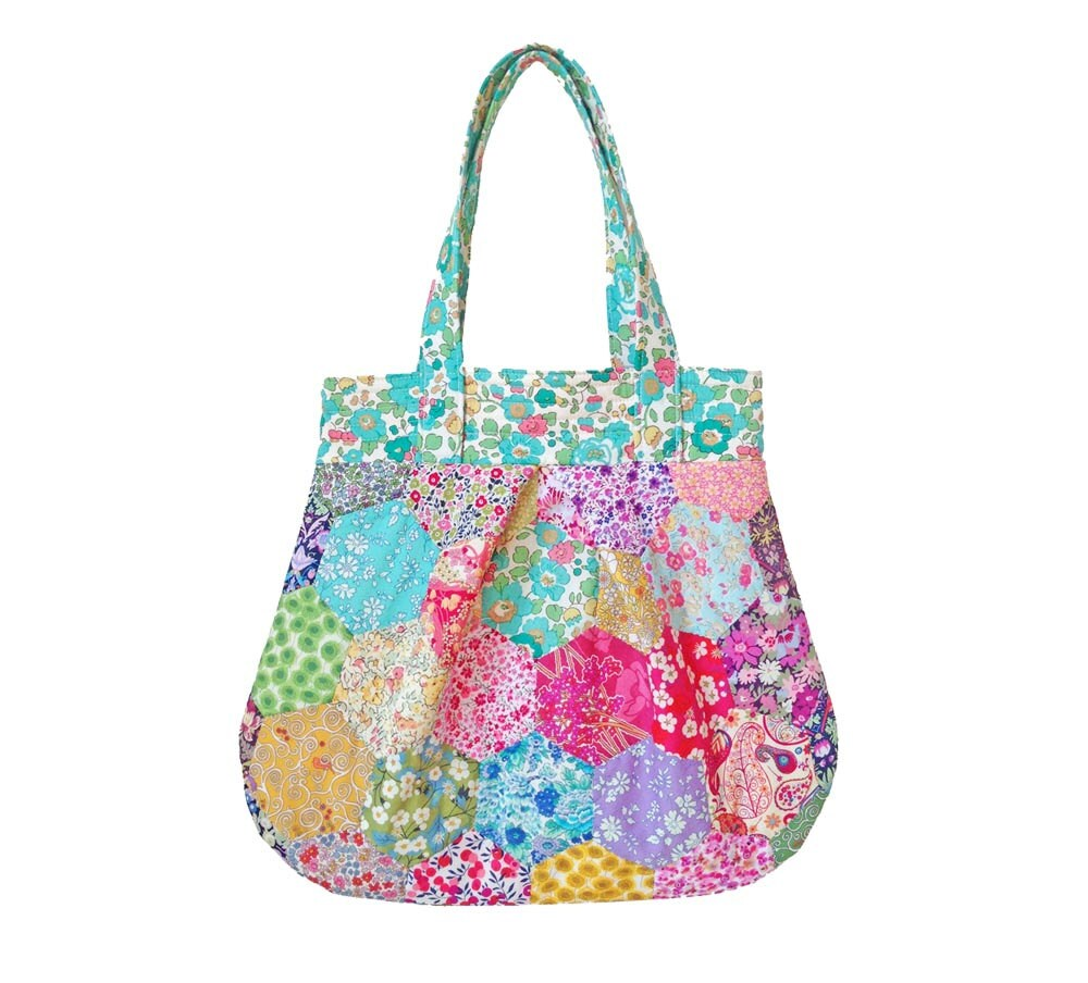 Liberty Fabric Hexagon Patchwork Anna Bag Pattern Instant