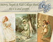 Snow Angels Children Christmas Digital Collage Sheet Instant Download ACV02
