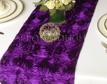 Satin Ribbon Rosette Wedding Table Runner - Purple