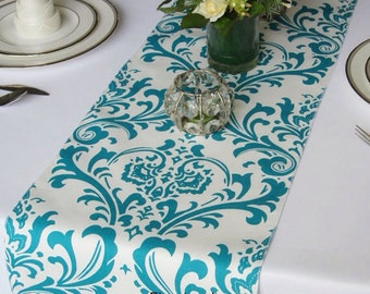 Traditions Turquise Damask on White Wedding Table Runner