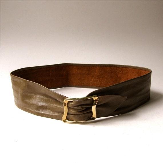 80s vintage mocha brown wide leather cinch belt