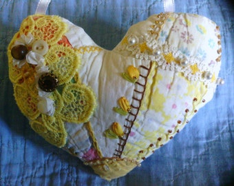 Yellow Golden Heart Crazy Quilt Pillow