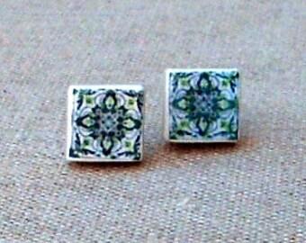 Portugal  Antique Tile Replica Earrings,  Aveiro, Green - Post Stud 1cm 502