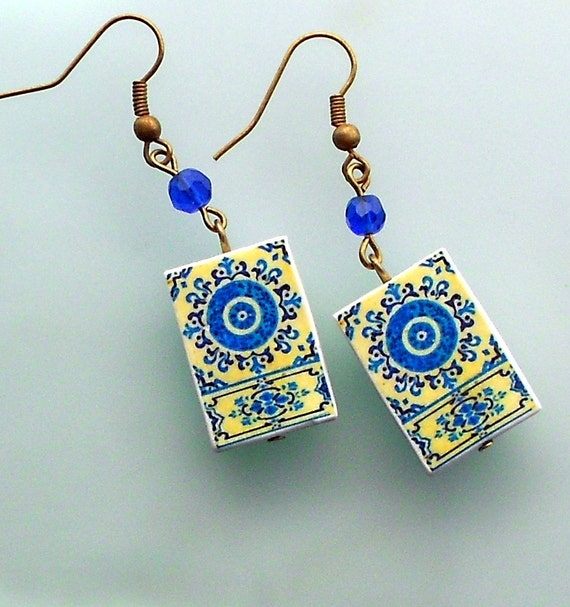 Portugal  Antique Tile Replica Earrings,  Blue and light yellow - MURTOSA waterproof and reversible