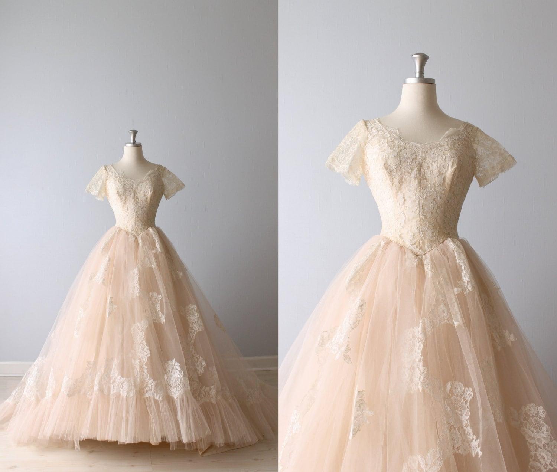 Reserved vintage 1950s wedding dress blush pink wedding for Blush vintage wedding dress
