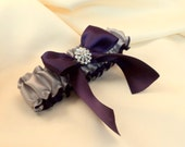 Simple Satin Deluxe Dual Color Bridal Garter with Rhinestone Accent..You Choose The Colors..shown in silver gray/eggplant deep purple