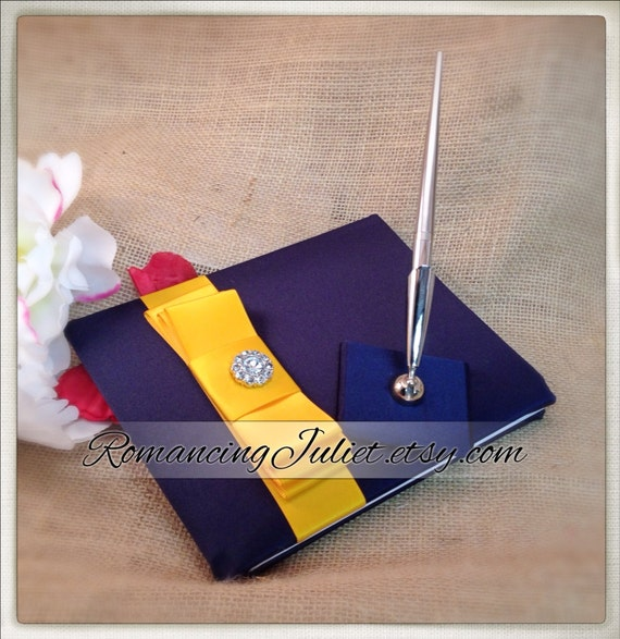 Romantic Satin Wedding Guest Book and Pen Set with Rhinestone Accent...You Choose the Colors..shown in navy blue/yellow gold
