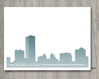 Personalized Note Cards Set 10qty ... Choose your color and font....Milwaukee WI