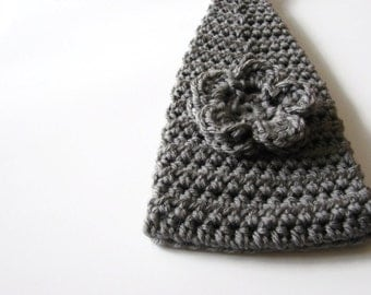 Gray Crochet Headband, Headwrap, Ear Warmer, Grey Flower Head band, Adjustable Hair Accessory, Winter Fashion MADE TO ORDER