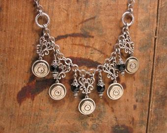 Bullet Jewelry - Statement Jewelry - Silver 45 Auto Bullet Casing Bib Necklace w/Black Onyx Beadwork - Formal Jewelry - Rustic Wedding