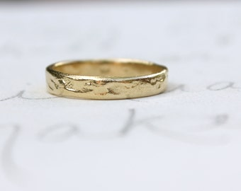 recycled 14k yellow gold wedding band ring . solid gold wedding ring . handcrafted rustic wedding ring . river rock ring . hewn ring for him