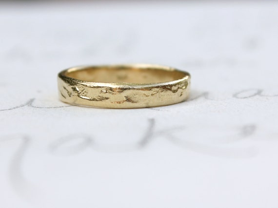 Recycled Yellow Gold Wedding Band Bands Solid By Peacesofindigo