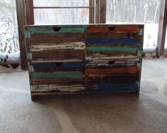 Reclaimed wood look Furniture Dresser Distressed Toy Chest  Desk Primitive Storage Unit Entertainment Center Shabby Chic TV Stand