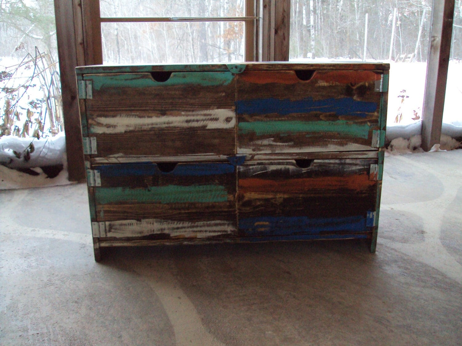 Reclaimed wood look furniture dresser distressed toy chest