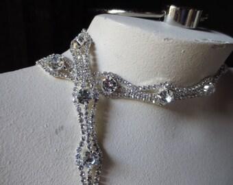 "SALE 12"" Rhinestone Trim for Bridal Sashes, Headbands, Garters, Jewelry"