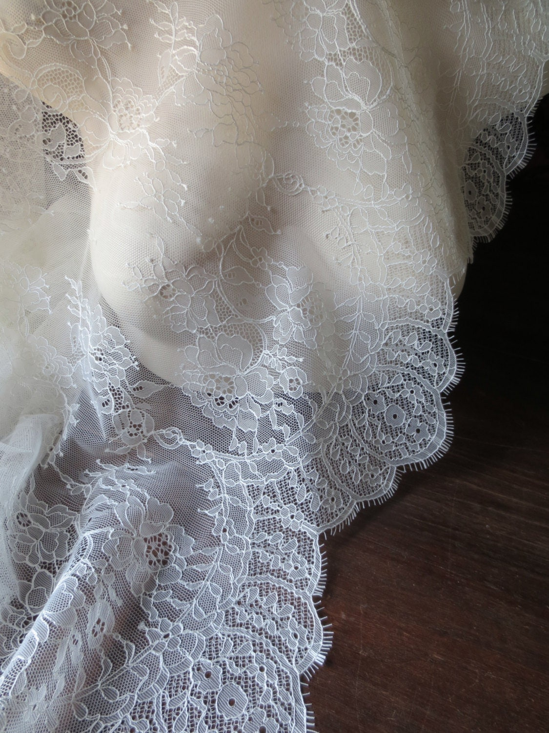 Sample chantilly lace fabric in ivory cream for bridal gowns for Wedding dress fabric samples