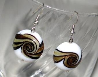 Beaded dangle earrings, beaded earrings,simple boho earrings, dainty Victorian earrings, beaded earring, long  earring,shell earring