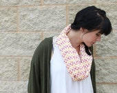 50% off Spring Sale! Organic Tribal Infinity Scarf.  Circle Cowl Scarf. Organic Cotton. Red, Orange, Yellow. Geometric. Ready To Ship.
