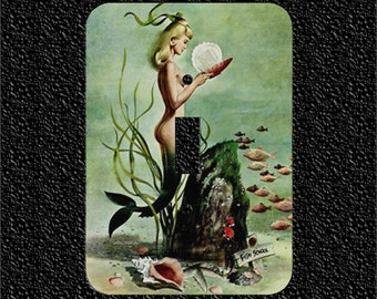 Fish School Retro Mermaid Light Switch Plate Covers Toggle/Rocker/Outlet