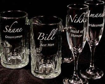 4 Personalized Wedding Party Gifts Toasting Flutes, Beer Steins, Engraved Gifts for Bridesmaids, Groomsmen