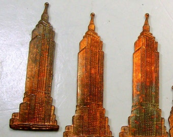 4 Vintage SkyScraper French Copper Stampings, Supplies, 23mm x 10mm, Leap Tall Buildings, Waiting for Superman, 1950s, I Have Quantity