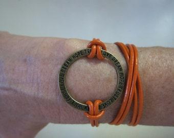 Orange Leather Circle Wrap Boho Bracelet