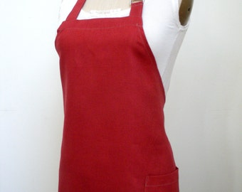 Brick Red Linen Apron With Turnip Applique
