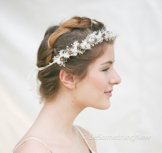 Wedding Hair Wreath of Babies Breath and Roses, Bohemian Flower Crown ...
