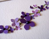 Inventory CLEARANCE 3D Paper Flower Art / Delicate Branch with Purple Hydrangeas + Purple Pearls / 5x7 inches / Ready to Ship