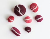Hand felted Pebbles - Passion Red