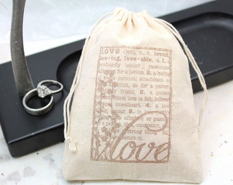 Muslin Favor Bags 4x6  - Definition of LOVE - Set of 10 - Wedding Favors, shower favors, thank you