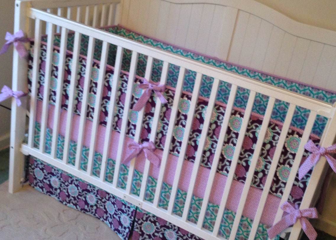 baby girl crib bedding set purple lavender and teal floral. Black Bedroom Furniture Sets. Home Design Ideas