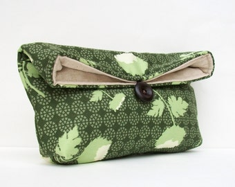 Makeup Bag Cosmetic, Green Clutch Purse, Floral Clutch Purse, Bridesmaid Gift, Bridesmaid Clutch, Travel Cosmetic Bag