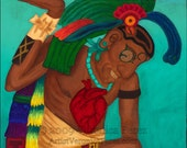 Hombre Maya: Print / Photo reproduction of original acrylic painting (11x14in)
