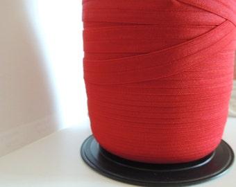 "5/8"" Inch Fold Over Elastic - 5 Yards of Dark Red FOE"