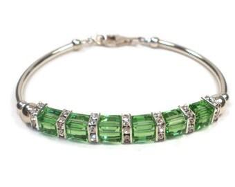 Peridot Green August Birthstone Sterling Silver Bracelet