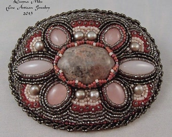 Bead Embroidery Bead Woven Hair Barrette Pink Gray Cream Red