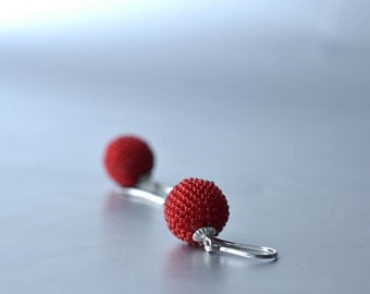 red beaded earrings  with silver hooks