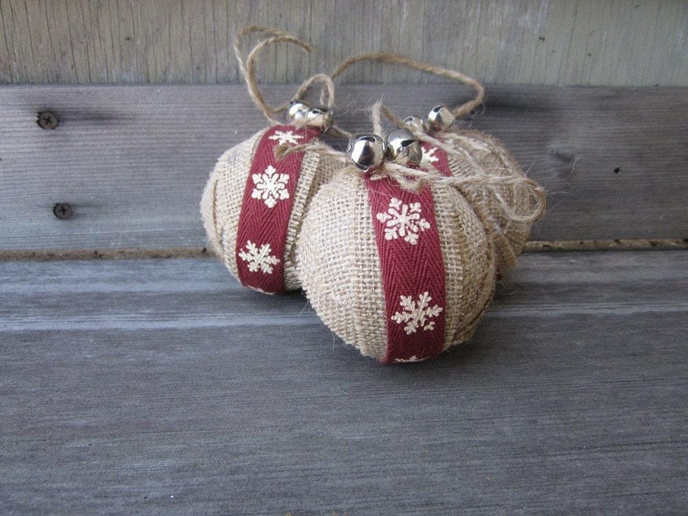 Rustic christmas burlap ornaments snowflake